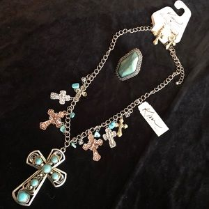 🦉Kim Rogers Turquoise Crosses Jewelry Set NWT